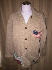 ralph lauren Country COLLECTORS HAND KNIT FLAG RL 90 signed cardigan sweater$800