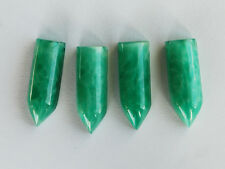 VINTAGE CHINESE JADE GREEN GLASS BULLET PENDANT BEADS • 25x9mm