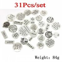 31Pcs/lot Tibetan Silver Letters Word Mix Charms Bracelet Pendants Jewelry DIY