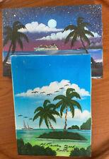 2 Caribbean Paintings/Canvas/Wood Framed, Island,Mountain,Ocean,Ships