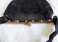 Vintage Twifaille By Rosenfeld Black Satin Purse Bag Clutch Enamel Frame Fancy