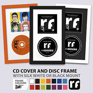 CD Frame COVER & DISC 'Double' Wood Black White Colours album picture FRAMES