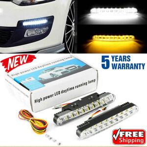 2pcs 30 LEDs Daytime Running Light White Amber DRL Driving Turn Signal Fog Lamps