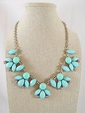 Seafoam Green Cabochon & Faceted Plastic Stone Rhinestone Bib Statement Necklace
