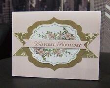 "Stampin Up ""Happiest Birthday"" Pink Soft Floral Birthday Handmade Card"