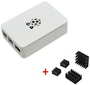 Raspberry Pi 4 Model B Case Gehäuse Hülle weiß mit Logo inkl. Kühlkörper Set
