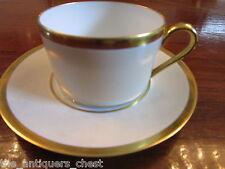 Georges Boyer Limoges Flat Cup & Saucer Set gold rim [56*]