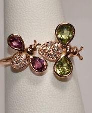 Pink Tourmaline, Peridot and Diamond Love Bugs Ring in 18K Rose Gold