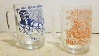 2 Vintage Clear Glass 16oz Mugs Songs Sheet Music & Lyrics - Old Kentucky Home