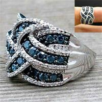 Superbe Bague Saphir Bleu Argent 925 Bijoux de mariage mode Nouveau