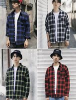 Japanese Men's Cotton Long Sleeve Casual Plaid Turn Down T-Shirt Tops Blouse