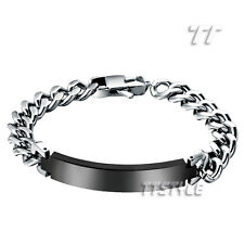 TTstyle 9 Mm Width Silver Stainless Steel Curb Chain ID Bracelet Engravable