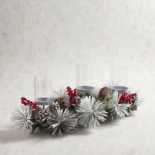 Nwt Pier 1 Faux Floral Holiday Winter 3 Votive Candle Holder
