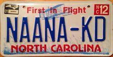North Carolina vanity NAANA NANA KID license Plate Grandma Grandmother Children