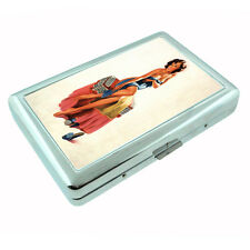 Metal Silver Cigarette Case Holder Box 2nd Pin Up Girl Design-002