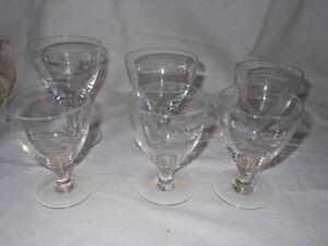3+2+1+1 Bicchieri a calice incisi anni '50 similari V1 Glasses ^