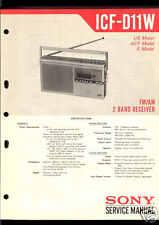Sony original service manual pour ICF-D 11w ICF D 11