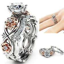 Size 5-10 Stainless Steel Round Cut CZ Wedding Band Ring Set Women Men Couples
