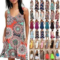 Women Boho Floral Loose Sundress Tunic Mini Swing Dress Summer Bikini Cover Tops