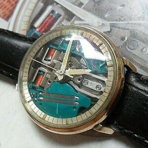 Clean Vintage 1965 Men's Bulova Accutron 214 Spaceview Tuning Fork Watch Runs