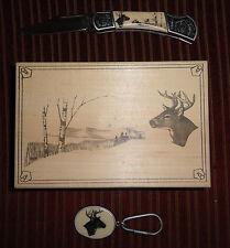 Pocket Knife & Keychain Set Decorated w Buck Deer w Wood Gift Box like Scrimshaw