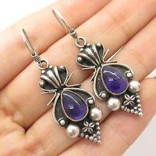 Vtg 925 Sterling Silver Real Amethyst Gemstone Handmade Drop Earrings