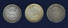 GERMANY EMPIRE  1905-A-D-E,  1 MARK SILVER COINS, LOT OF (3), VF/XF to AU