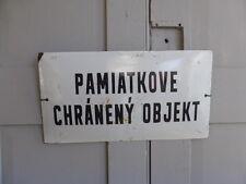 """Vintage Tchèque Émail Signe pamiatkove chraneny Objekt (""""un bâtiment classé"""")"""