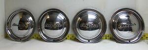 """New OEM Mopar 15"""" Script Hub Caps Wheel Covers 1949 Chrysler Nice Set!  (3236SR)"""