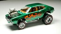 1971 Ford Pinto 1/64 Diecast Diorama Car Lifted Drag Racer Metallic Green Flames