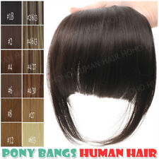 100% Real Human Hair Air Bangs Extensions Clip In Front Hair Fringe Thick Black