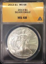 2013  AMERICAN EAGLE SILVER COIN, ANACS GRADED  HIGH MS68, 1 Oz. 999% Purity