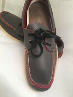 Sperry Topsider Leeward 2 Eye Boat Shoes Loafers Red Blue Leather Moc Mens 11.5