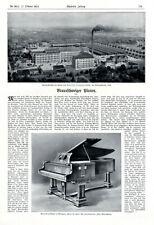 Klavier Grotrian Steinweg Braunschweig XL Reklame 1912 Werbung Piano Flügel