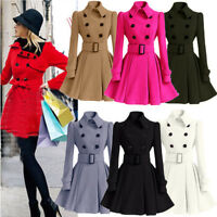 Womens Winter Slim Fit Outerwear Puffer Trench Coat Parka Jacket Tops Overcoat