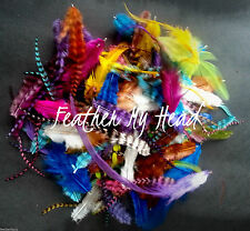 100 FEATHER EXTENSIONS WITH FLUFF , CRAFT, PET FEATHERS, JEWELRY