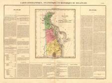 Estado de Delaware Antiguo Mapa. Delaware Cuña se muestra como parte de PA. Buchon 1825