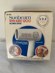 VINTAGE OLD NEW STOCK SUNBEAM WIN-AIRE 1200 BLOWER HAIR DRYER (52-351)