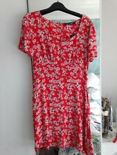 Love Label Red Mini Dress with black white floral pattern, UK Size 8 NEW