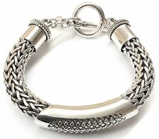 Thick Indonesian Sterling Silver Toggle Bracelet. Weighs 95 grams.