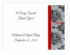 100 Personalized Black Lace Bridal Wedding Thank You Cards Any Color Stripe
