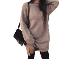 S-2XL Women Turtleneck Loose Dress Mini Short Long Sleeve Winter Fall