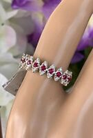 Red Spinel And Diamond Band 14K White Gold Size 7 1/2