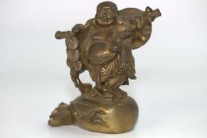 Japanese brass Hotei statues ornament 3.22inch Seven Lucky Gods BB08
