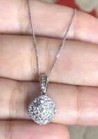 Ernest Jones 9ct White Gold Halo Cluster Diamond Necklace 0.50ct Square Half Ct
