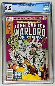 JOHN CARTER, WARLORD OF MARS #2 CGC 8.5 WP VF+ (MARVEL 1977) 🔑GIL KANE ART  🔥
