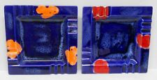 2 Ceramic Glaze Ashtrays Japan Labels - Original Box Blue Yellow Orange Abstract