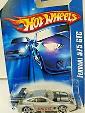 2006 Hot Wheels #201 All Stars FERRARI 575 GTC Gray w//Pr5 Spoke Wheels 2007 Card