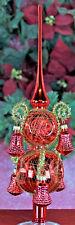 Exklusive Glockenspitze  Rot mit Reflexen und Glocken Christbaumschmuck Lauscha
