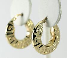 14k Yellow Gold Greek Key Puffed Band Hoop Earrings